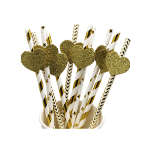 Wholesale Lovely  Golden Heart pattern Biodegradable Paper Straw Custom