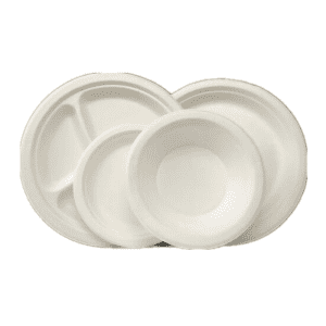 100% Biodegradable& Compostable Non-Wood Plant Fiber Tableware Clamshell Plate Bowl Takeaway Box