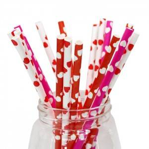 White Verged Drinking  Paper Straws Custom