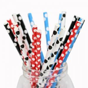 Wholesale Bulk 10 Inch Kraft  Christmas Printed Paper Straws