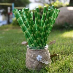 Biodegradable Verged Customized Bambow Drinking Paper Straws