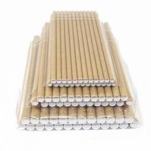 Wholesale 140-160mm Brown Pollution-free Paper Straws Pipe Custom