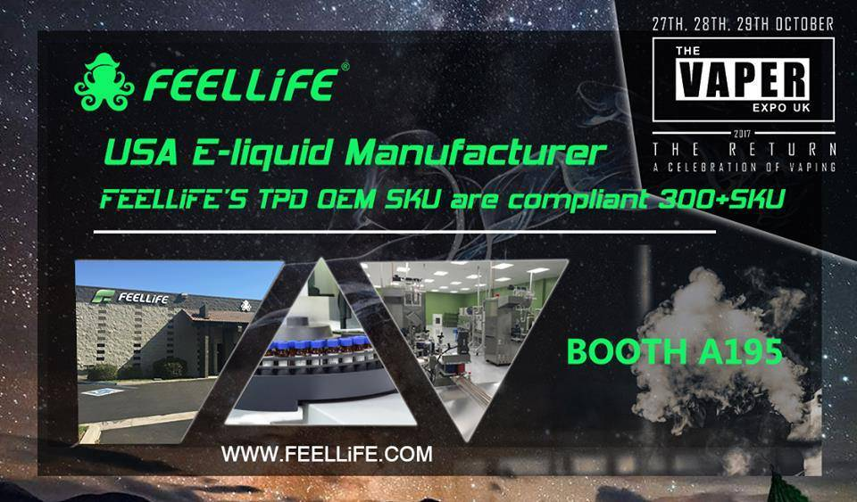 FEELLiFE will attend The Vaper Expo UK 2017 in Oct.27th- 29th, Birmingham NEC