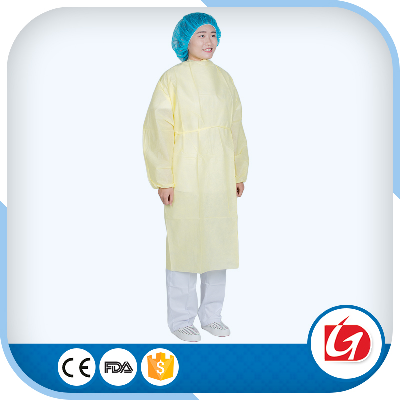 2016 Raysen Factory PP+PE Disposable Female Isolation Gown with Approved
