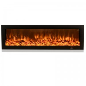 wall mounted&insert LED electric fireplace with flat tempered glass facial by phone app control-EMP-001