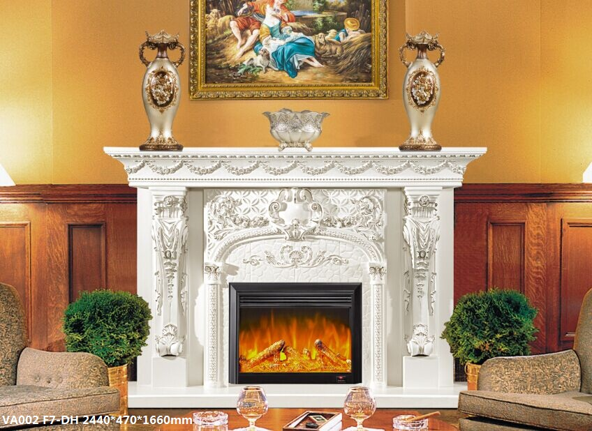 Marble Paghahati Pugon Hand Carved Natural White Marble Electric Fireplace Remote Control fireplace