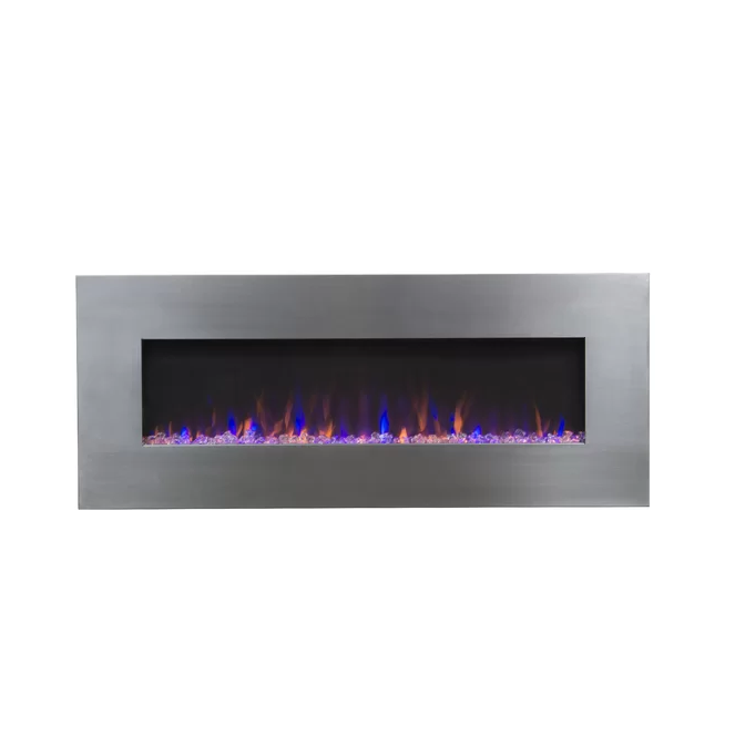 Stainless Wall Mounted Crystal Color Changing Electric Fireplace Featured Image