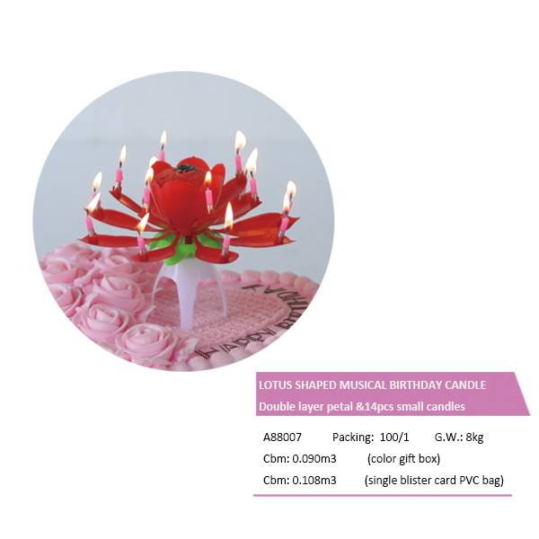 A88007 MUSICAL BIRTHDAY CANDLE–LOTUS SHAPE