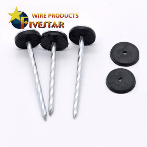 Umbrella head shank roofing nails with washer