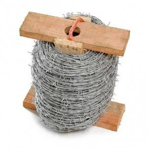 Wood spoon galvanized barbed wire