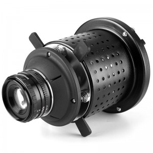 Bowens Mount Optical Snoot Spotlight Concentrator for Studio Flash LED Light 50mm Lens Built-in Geometry Graphics Adjustment