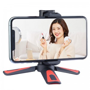Vlogging Mini Desktop Tripod With Smartphone Holder and Cold Shoe