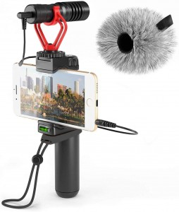 Smartphone Video Rig with Shotgun Microphone Grip Handle Wrist Strap Vlog YouTube Filmmaker