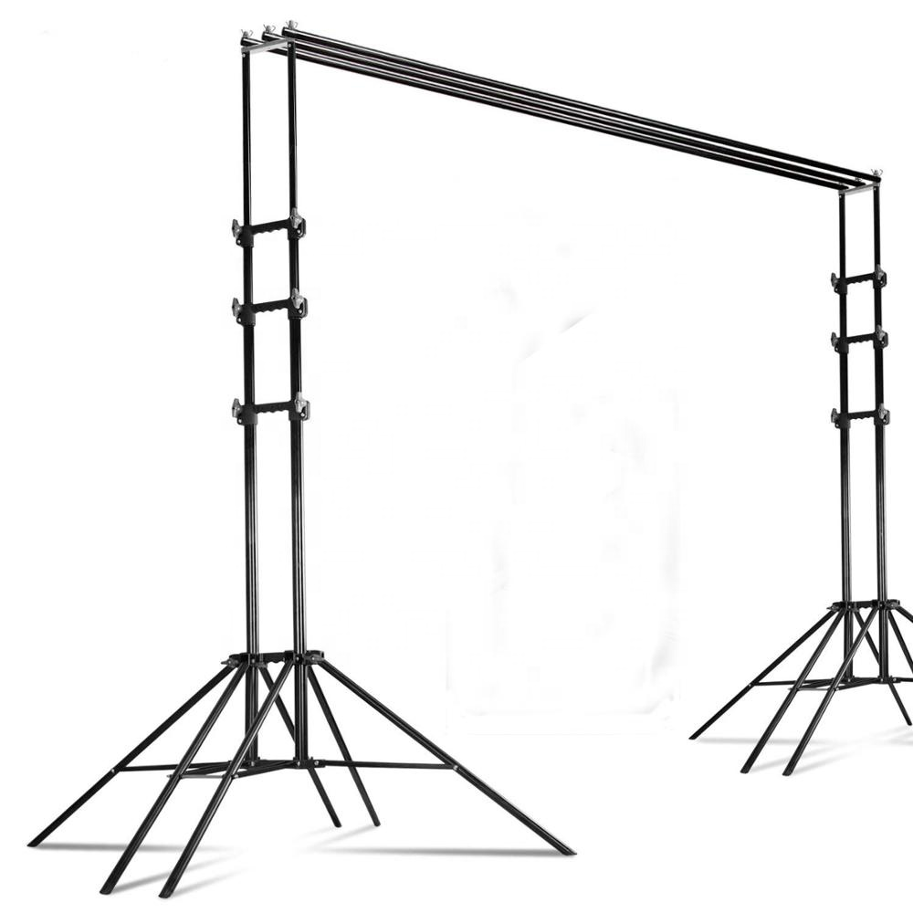 3 in 1 Multi Backdrop Stand Triple Crossbar Backdrop Stand Photo Video Studio Heavy Duty Adjustable Muslin Background Support