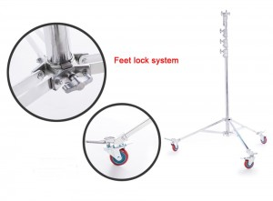 4.5m High Overhead Roller Stand Steel Wheeled Stand Light Stand with 5/8″ 16mm Stud Spigot