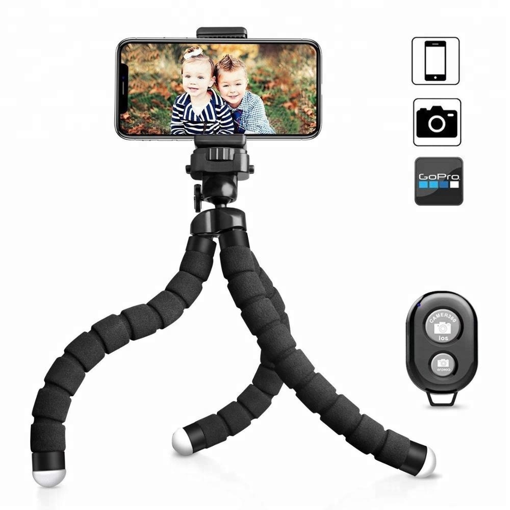 Flexible Mini Cell Phone Tripod Stand Holder With Wireless Remote Shutter and Universal Clip