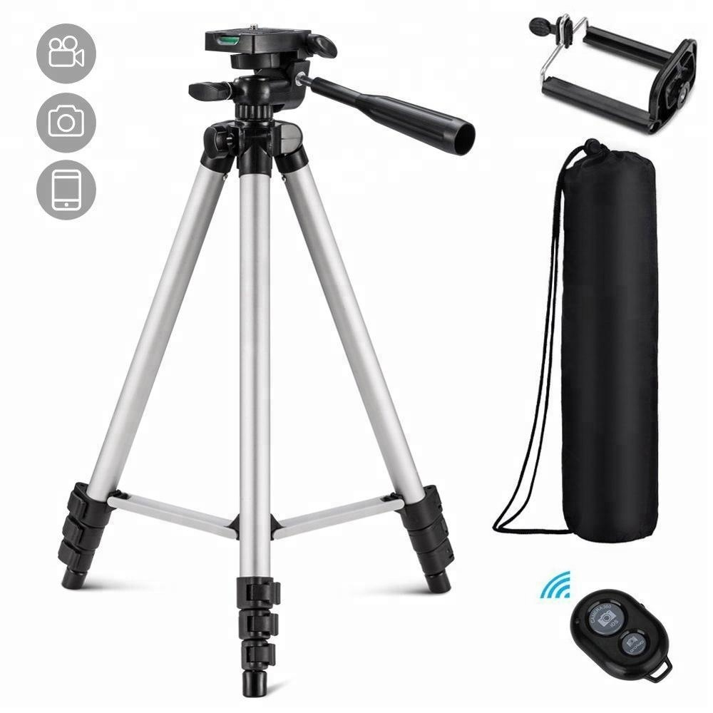 Cellphone Tripod 50 inch with Holder Mount Wireless Remote