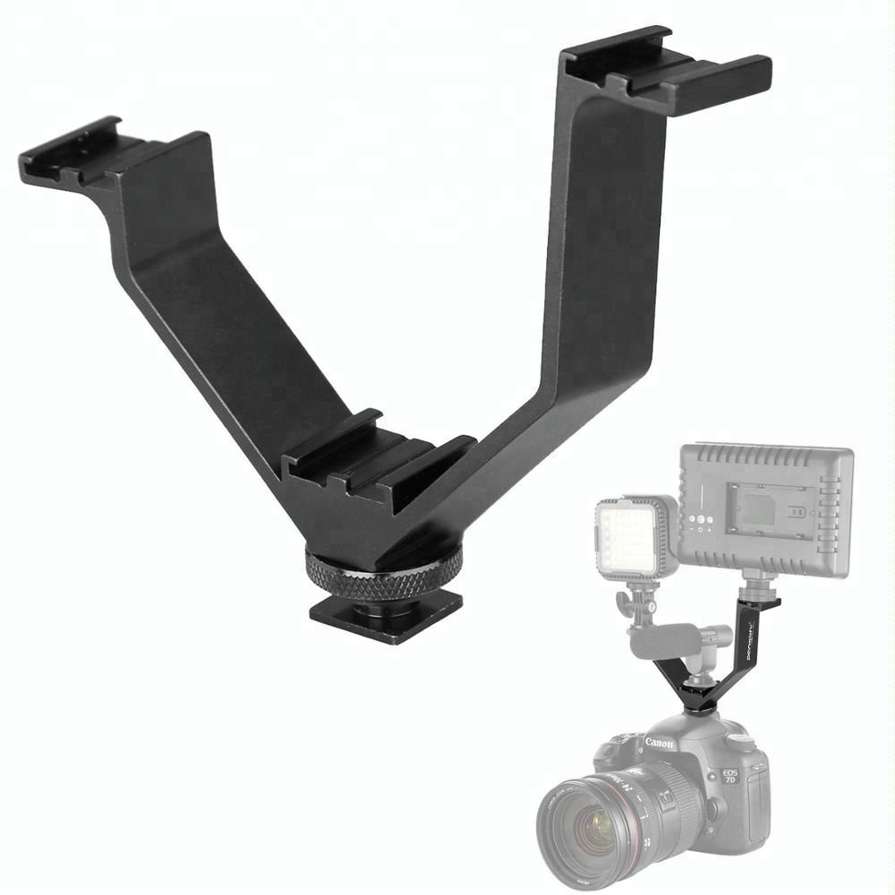 Lights V-shape Bracket Triple 3 Hot Shoe Mount