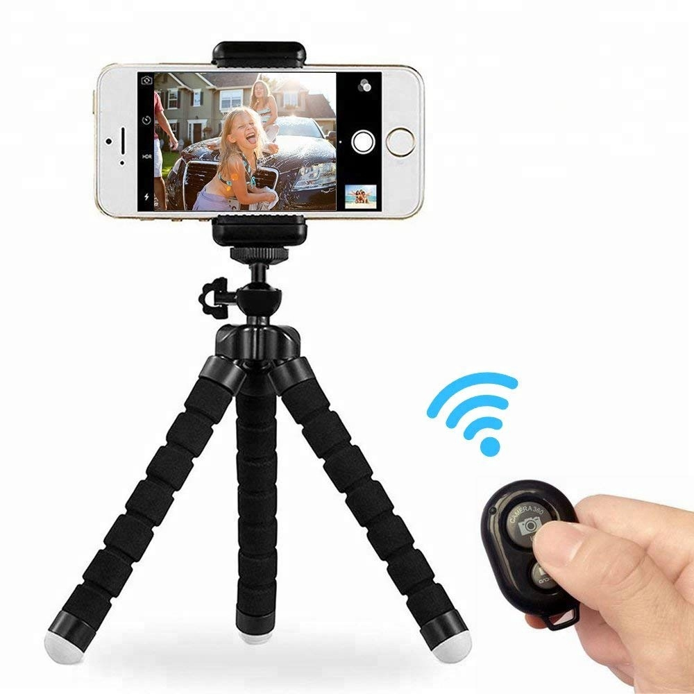 Phone Tripod Mount Adapter Portable Adjustable Camera Stand Holder Wireless Remote Universal Clip