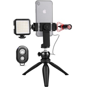 Smartphone Video Rig Vlog Kit 1 with Grip Rig, Shotgun Microphone, LED Light and Wireless Remote Vlog YouTube Filmmaker