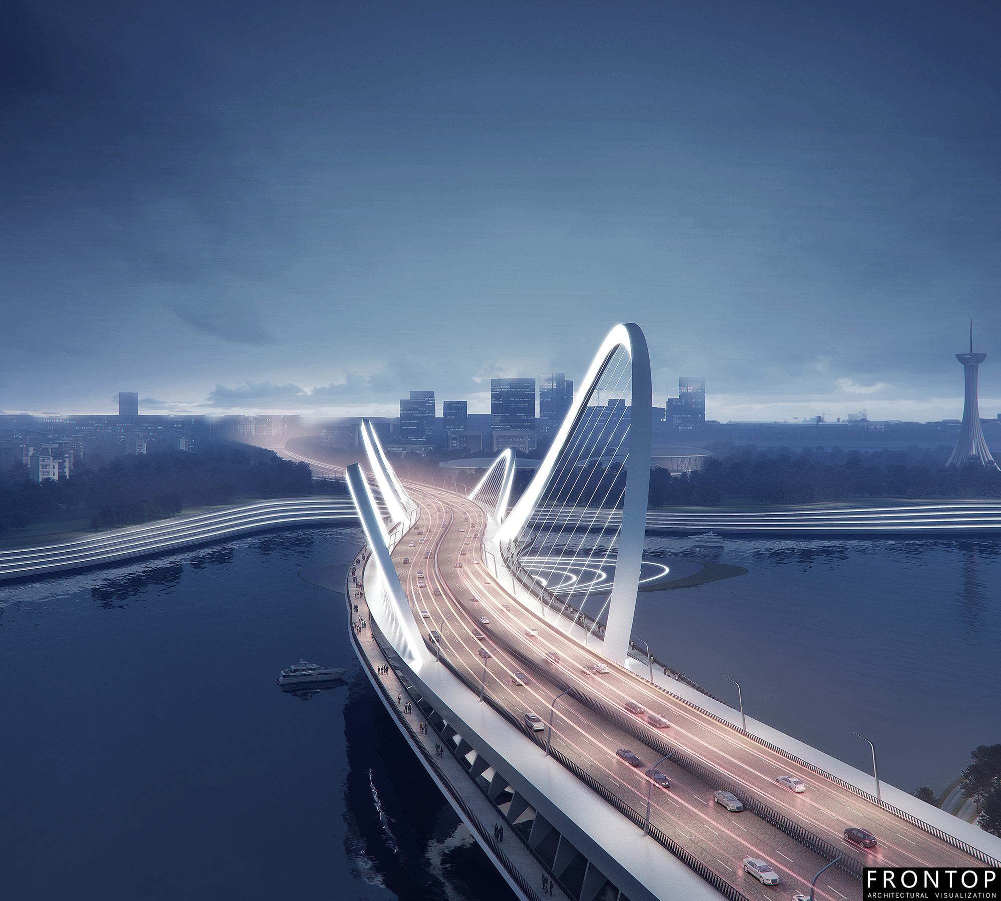 Professional China 3d Animation - Binhai Bay Bridge – Frontop