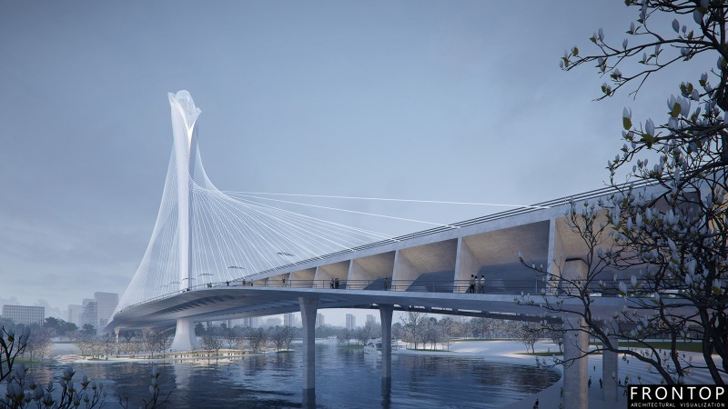 High definition 3d Architectural Rendering - Binhai Bay Bridge – Frontop