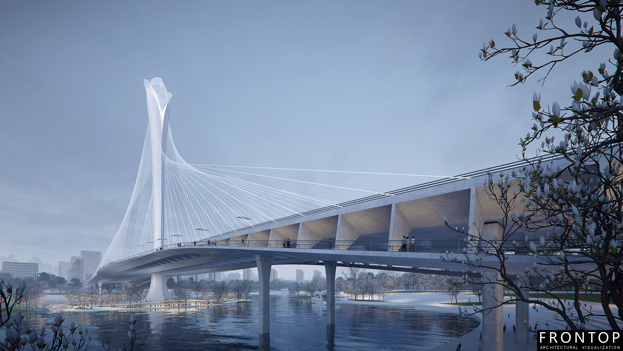 Special Design for Best Architectural Render - Binhai Bay Bridge – Frontop