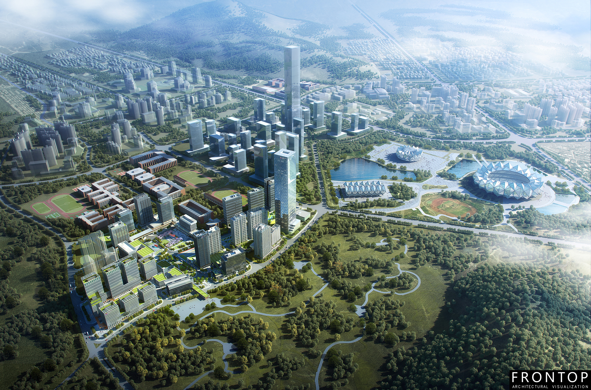 High Quality Architectural Rendering - Qidi Xiexin Science Park – Frontop