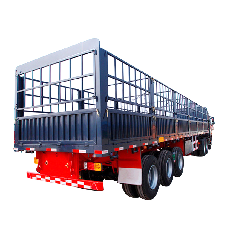 Flat rail fence semi-trailer