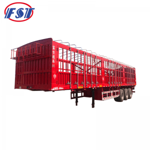 Semi trailer with long lock bar fence
