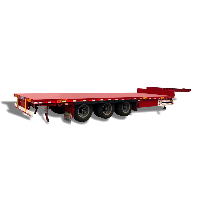 Small goose neck low flat transportation semitrailer