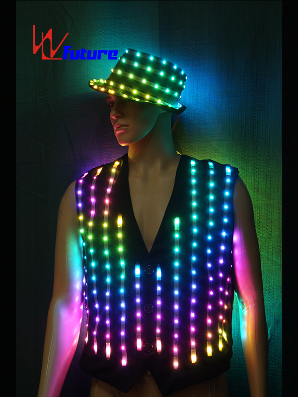 Quality Inspection for Led Dance Suit - Custom LED Pixel Suit Costume with Hat For Stage Performance WL-0145 – Future Creative