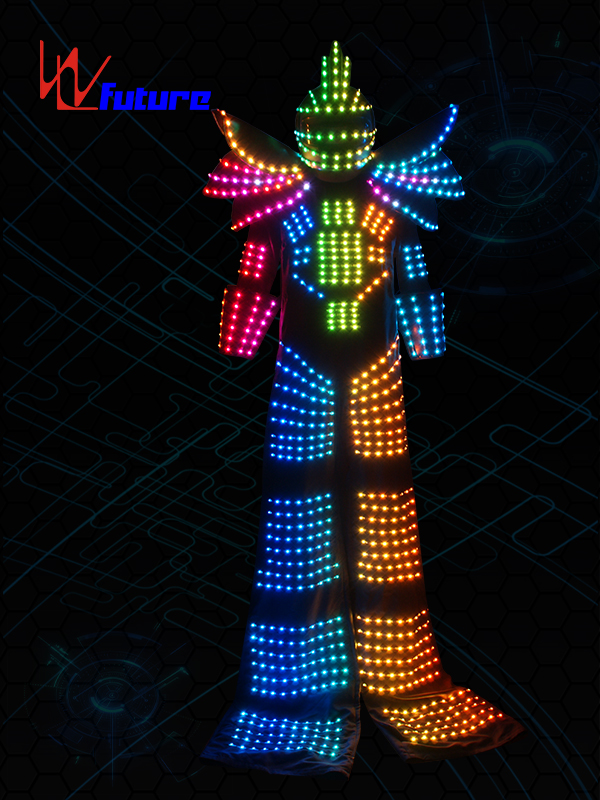 Cheap price Led Lights Ballet Costumes - Cheap price 2019 Led Robot Costume Led Clothes Stilts Walker Costume Trajes De Led Suit Costume Helmet Laser Gloves Co2 Gun Jet Machine – Future Crea...