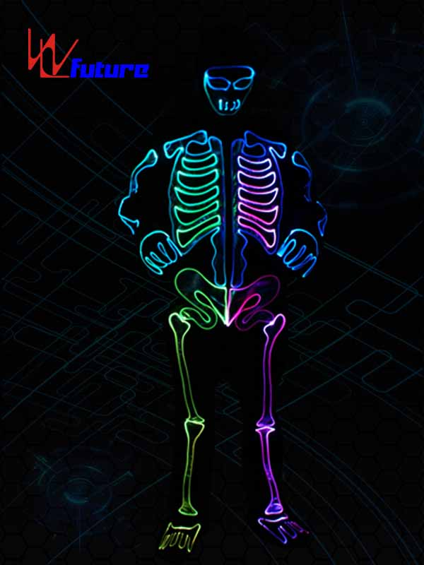 2017 New Style Led Light Up T Shirt - Glowing skeleton costume,LED light up  halloween clothing WL-0146 – Future Creative detail pictures