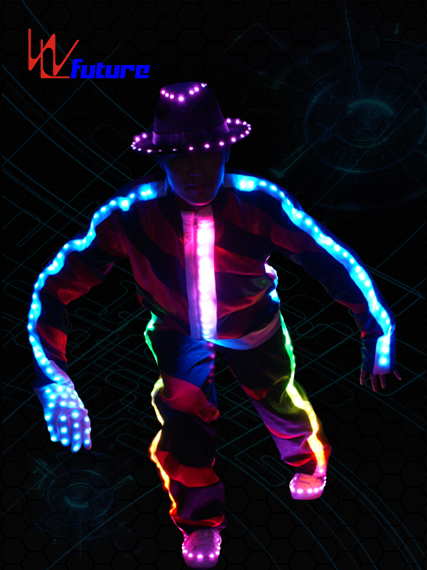 Chinese wholesale Led Strip For Clothing - Programmable LED MJ Dance Costume with Hat,Gloves WL-017 – Future Creative