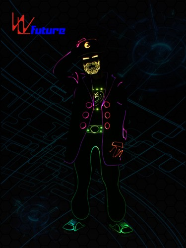 Wireless Control LED & Fiber Optic Tron Costumes With Beard Mask WL-0195