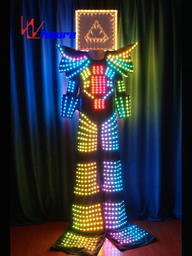 LED Stilts Walkers' Robot Suit With 3D Cube Helmet WL-0131