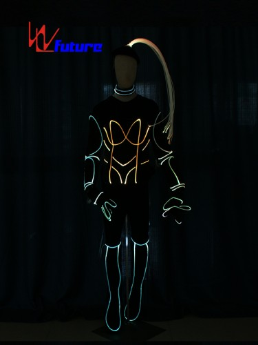 Fiber optic luminous costume with hair, boots, gloves For Show WL-0223