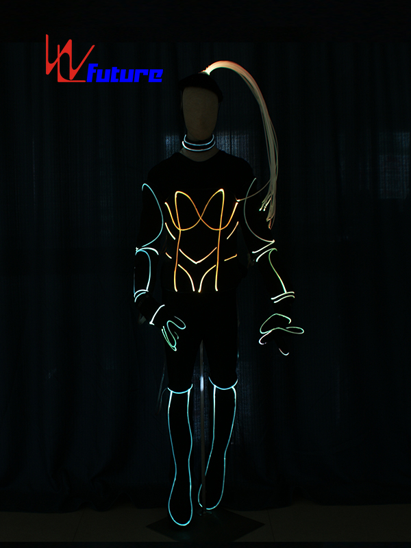 Bottom price Light Up Suit Costume - Fiber optic luminous costume with hair, boots, gloves For Show WL-0223 – Future Creative