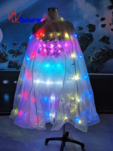 White LED Wedding Dress Costume with Wings For Stage Wear WL-0272
