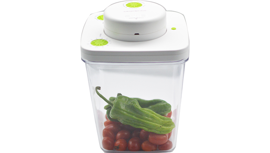 The lower the vacuum pressure, the less air/moisture inside, and longer shelf life of foods. The inner pressure of our vacuum container reaches 350hPa(equal to 8000 meters high)!