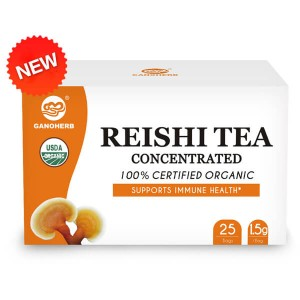 GANOHERB USDA Organic Reishi Mushroom Tea with 100% Ganodema Herbal for Boost Immune System-Vegan, Paleo, Gluten Free,All Natural,No Sugar, 0.05 Ounce (25 Count)