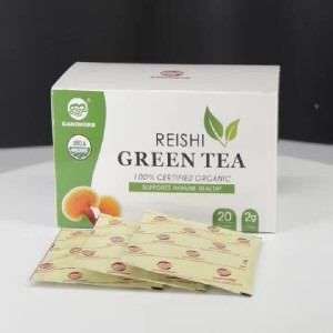 Private label Green Tea with Reishi Teabag Box Package Enhance Immune System