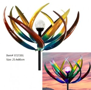 Multicolored tulip solar wind spinner with solar power glass ball