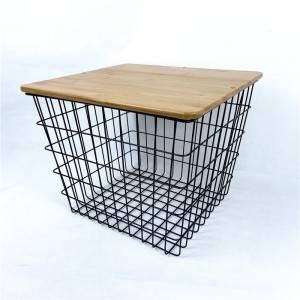 Metal Basket Side Table with Bamboo Lid
