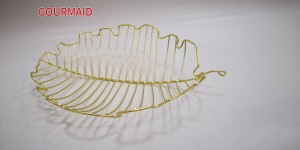 Gold Leaf Shaped Wire Fruit Bowl