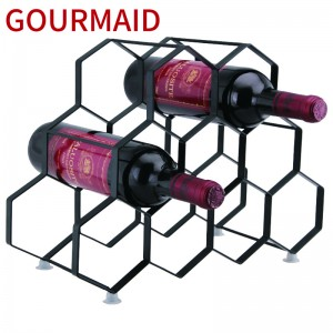 7 bottles metal hexagon wine rack