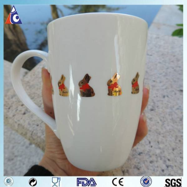 China Porcelain Mug With Gold Printing Factory And