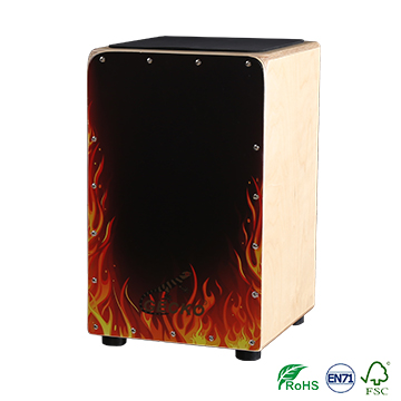 Handmade fire Decals Pattern Cajon Percussion Box Hand drum shell