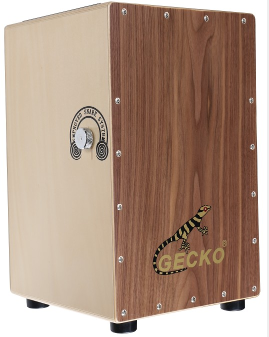 Tapping music wooden cajon box made with walnut wood surrounding sound